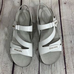 Easy Street White Croco Winnie Faux Leather Sandal
